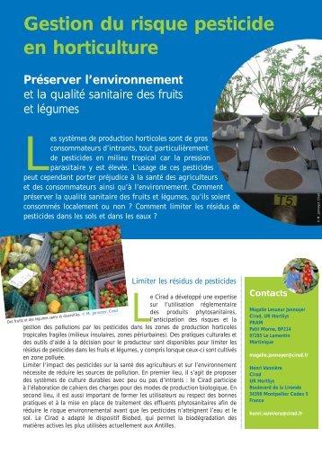 Gestion du risque pesticide en horticulture - Cirad
