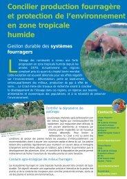 Concilier production fourragère et protection de l ... - Cirad