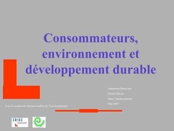 Consommateurs, environnement et développement durable