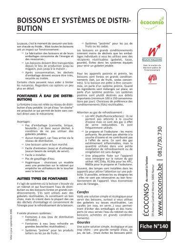 BOISSONS ET SYSTÈMES DE DISTRI- BUTION - écoconso