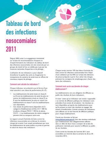 Synthèse du tableau de bord des infections nosocomiales 2011