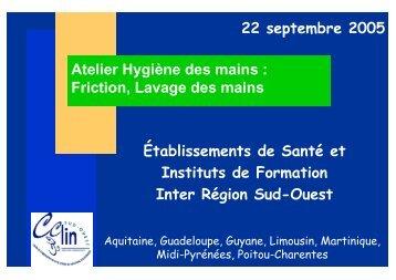 Atelier Hygiène des mains : Friction, Lavage des ... - CClin Sud-Est