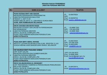 SENARAI RAKAN PEMBIMBING JPM - Jabatan Perdana Menteri