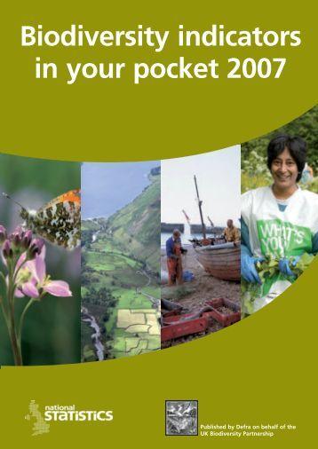 UK Biodiversity Indicators in Your Pocket 2007 - JNCC - Defra