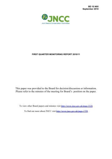 First Quarter Monitoring Report 2010/11 - JNCC - Defra