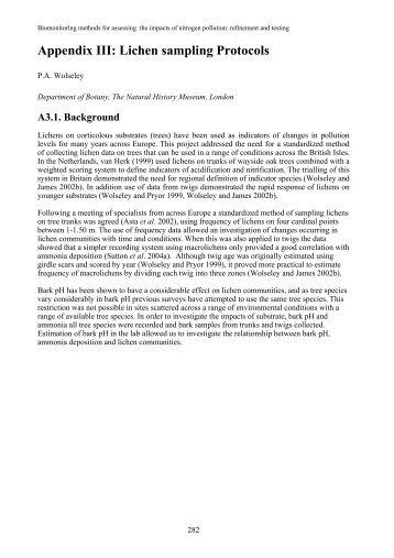 Appendix III: lichen sampling protocols - JNCC