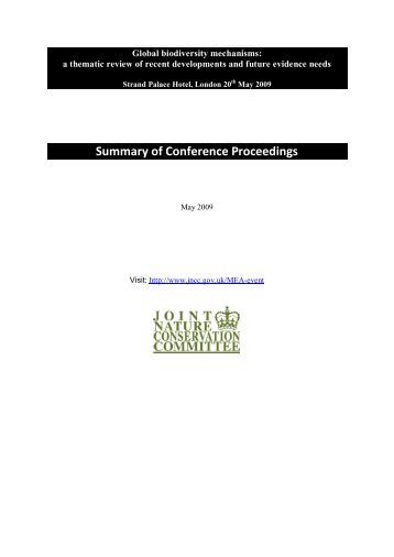 Summary of Conference Proceedings - JNCC - Defra