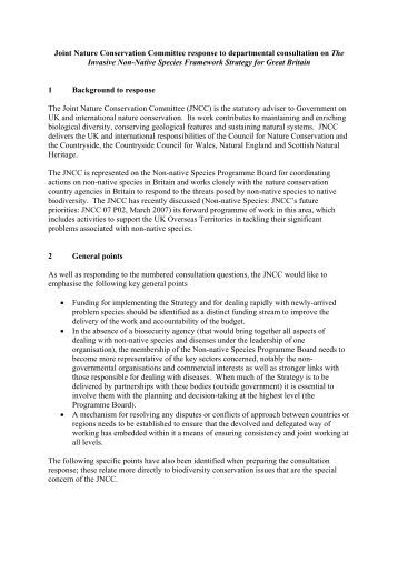 Joint Nature Conservation Committee response to ... - JNCC - Defra