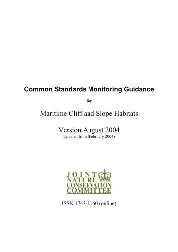 Common Standards Monitoring guidance for maritime cliff ... - JNCC
