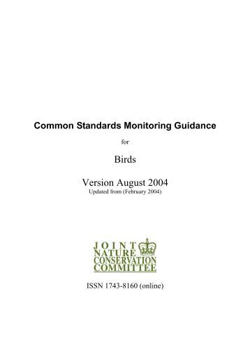 Common Standards Monitoring guidance for birds - JNCC