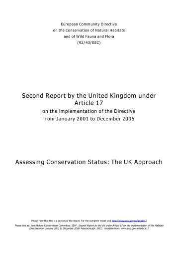 Assessing Conservation Status: The UK Approach - JNCC