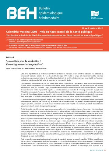 Calendrier vaccinal 2008 - Institut de veille sanitaire