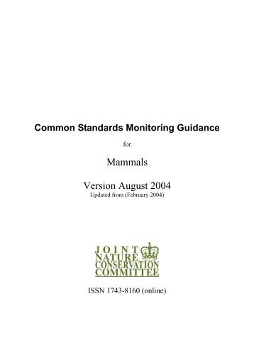 Common Standards Monitoring guidance for mammals - JNCC