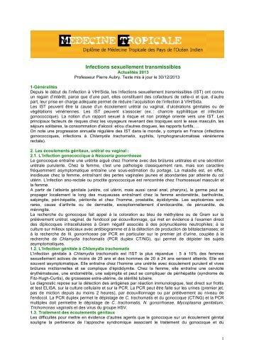 Infections sexuellement transmissibles (P. Aubry) - Médecine tropicale