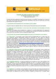 Conseils de santé en mission humanitaire - Médecine tropicale - Free