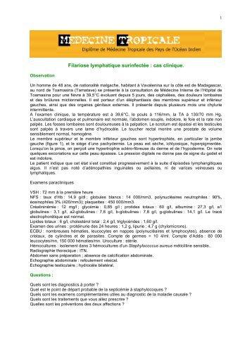Filariose lymphatique surinfectée : cas clinique. - Médecine tropicale