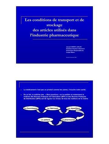 Les conditions de transport et de stockage des ... - Pharmacies.ma