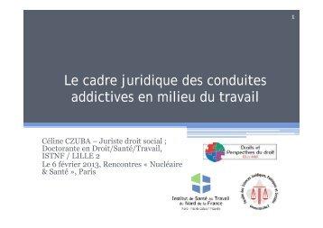 Le cadre juridique des conduites addictives en milieu du travail