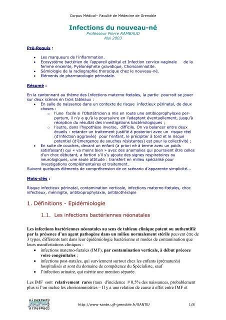 Infections du nouveau-né - Pôle Santé de Grenoble