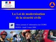 La loi de modernisation de la sécurité civile - Cedre