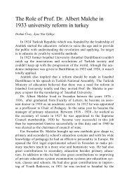 The Role of Prof. Dr. Albert Malche in 1933 university reform in turkey