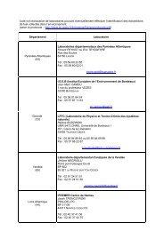Liste non exhaustive de laboratoires - Cedre