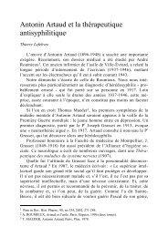 Antonin Artaud et la thérapeutique antisyphilitique