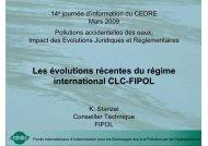 Les évolutions récentes du régime international CLC-FIPOL - Cedre