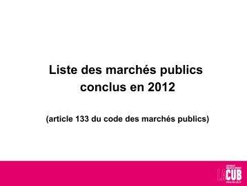 des marchés publics conclus en 2012 - Cub