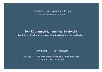 Der Bürgermeister und das Strafrecht - Eisenmann Wahle Birk ...