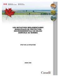 Les initiatives réglementaires municipales de protection ... - robvq