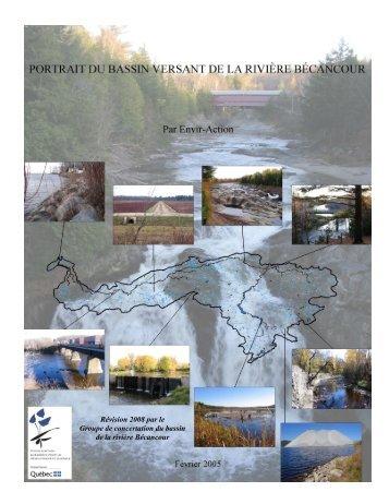 Portrait du bassin versant de la rivière Bécancour - 2008 - GROBEC