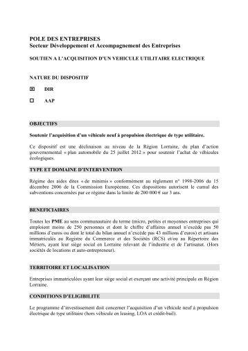 POLE DES ENTREPRISES - Conseil Régional de Lorraine