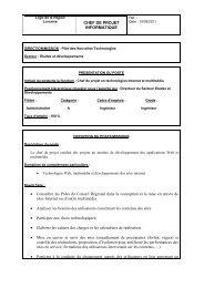 CHEF DE PROJET INFORMATIQUE • Conseiller les Pôles du ...