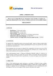 Pôle des Partenariats APPEL A PROJETS 2012 REGLEMENT