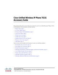 Cisco Unified Wireless IP Phone 7921G Accessory Guide