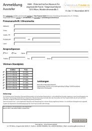 Anmeldeformular für Aussteller 2013 - Viennatime