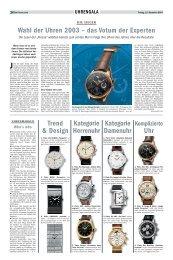 Wahl der Uhren 2003 – das Votum der Experten Trend ... - Viennatime