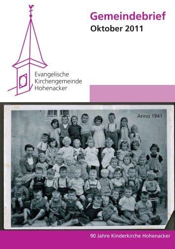 Gemeindebrief Oktober 2011 - Evangelische Kirchengemeinde ...