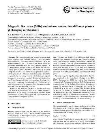 Magnetic Decreases (MDs) and mirror modes - Nonlinear Processes ...
