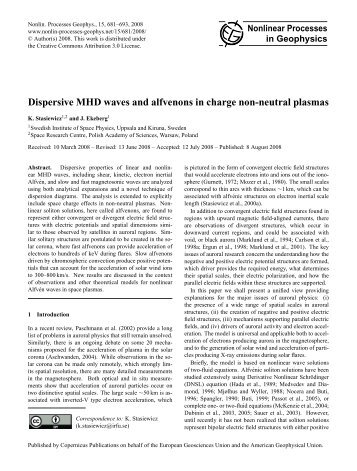 Dispersive MHD waves and alfvenons in charge non ... - Uppsala