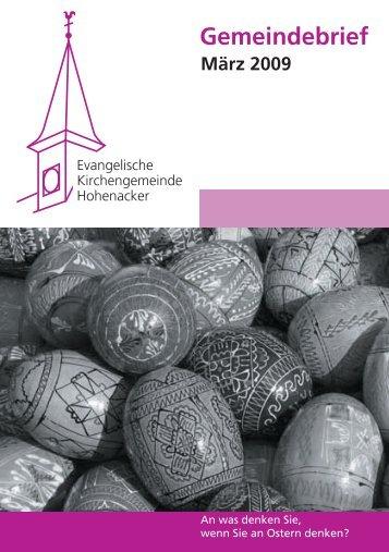 Gemeindebrief März 2009 - Evangelische Kirchengemeinde ...