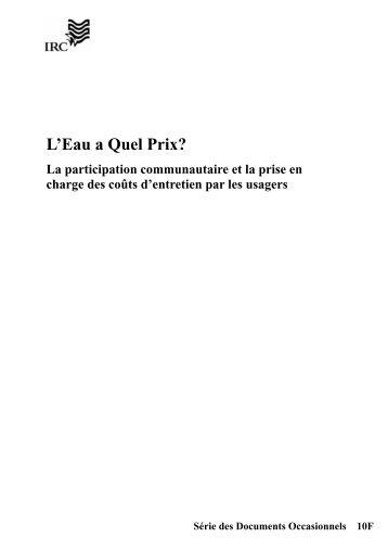 L'Eau a Quel Prix? - IRC International Water and Sanitation Centre