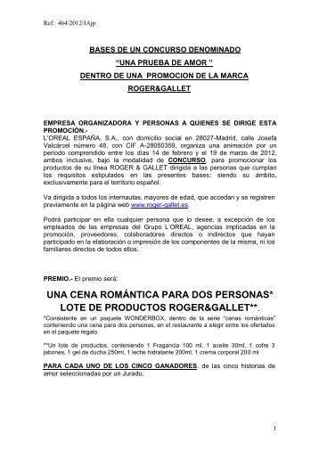 BASES DEL SORTEO DE 15 TELEVISORES - Roger&Gallet;
