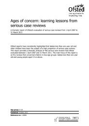 Ages of concern: learning lessons from serious case reviews - Ofsted