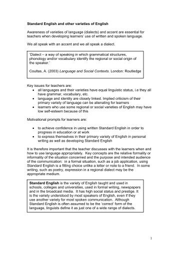 Standard English and other dialects - Excellence Gateway