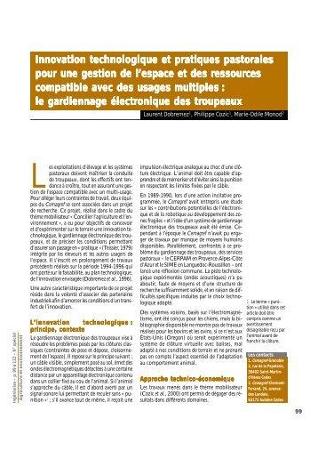 Innovation technologique et pratiques pastorales pour une gestion ...