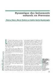 Dynamique des boisements naturels en Provence - Sciences Eaux ...