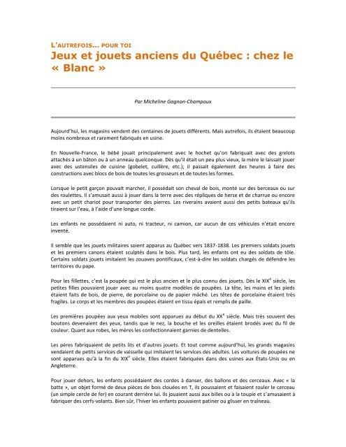Jeux Du » Le Jouets Micheline Quã©becChez Anciens Â« Blanc Et Qhtrds