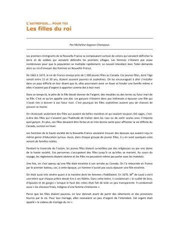 Les filles du roi Micheline Gagnon-Champoux - Société Saint-Jean ...